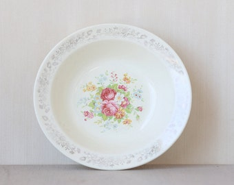 Small Silver Vine Rimmed Roses Plate Bowl // Vintage Chic Home Decor