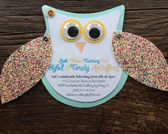 Owl Themed Birthday Invitation
