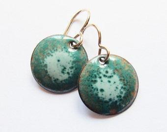 Teal enamel dangle earrings Small drop earrings Enamel jewelry Gold wires