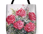 Tote Bag with Red Roses Watercolor Painting- Wearable Art Gifts Floral Flower Red Romantic Bright Colors Purse Carryall Bag