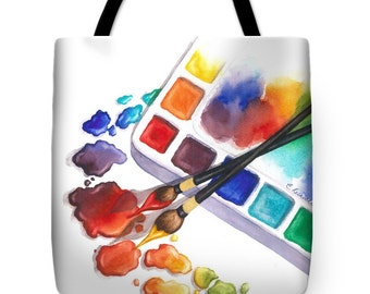 Artist Tote Bag with Watercolor Painting- Wearable Art Gifts for Artists or Painters Bright Colors Purse Carryall Art Supply Bag