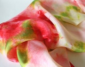 Alice in Wonderland Inspired Silk Scarf - Tea, Rabbits, and Roses - Hand Dyed Scarf or Waldorf Playsilk