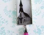 Vintage Church on Silver Chain with Rhinestones and Deep Pink Flower