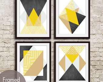Geometric Pattern Play (Geo-Metro Series C) - Set of 4 - Art Prints (Featured in Canary Yellow) Geometric Pattern Art Prints