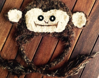 Newborn baby fuzzy monkey hat