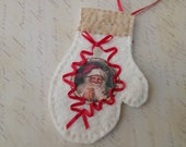Victorian Shabby Chic Christmas Mitten Ornament Decoration Red Ivory Ecru