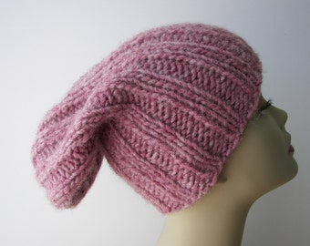 ICELANDIC WOOL Chunky Hand Knit Beanie Ski Hat in Dusty ROSE / Lopi yarn Knit Slouch hat / fold up knit hat