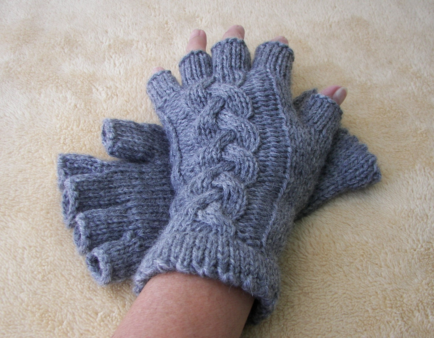 Knitting Pattern Gloves Half Fingers : Cable Hand Knit Half Finger Pure Peruvian WOOL GLOVES by ATIdesign