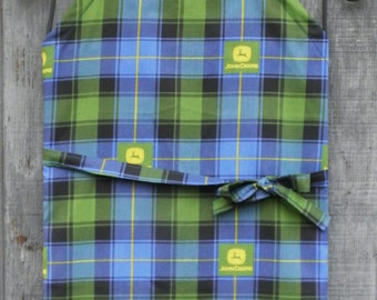 TRACTOR APRON, Blue-Green Plaid, Chef Style with Adjustable Ties