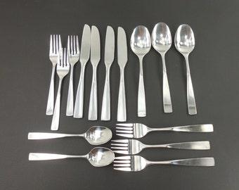 15 pc. Roger Co. ALLISON or DENMARK - Stainless Flatware Forks Spoons Knives