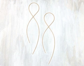 Gold and Rose Gold Pull Through Earring, Infinity Earring