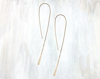 Yellow Gold and Rose Gold Pull Through Hook Earrings