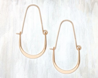 Gold and Sterling Silver Drop Hoop Earring, Good Fortune Hoop