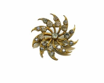 Victorian Rolled Gold Brooch - Clear Rhinestones Pin - Antique Jewelry