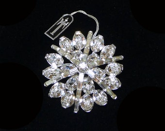 Vintage Trifari Rhinestone Brooch - Brides Wedding Jewelry -  Formal Prom - Sash Pin - Clear Rhinestones Jewelry