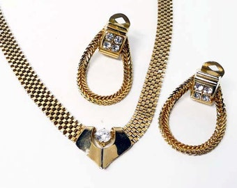 Vintage Mesh Chain Necklace & Earring Set - Gold tone with Clear Rhinestone