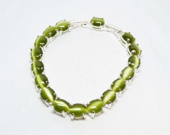Olivine Green MoonGlow Tennis Bracelet - Linky Oval Cabochon