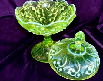 Vintage Vaseline FENTON Lily of the Valley Candy Dish