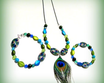 Peacock Matching Necklace, Bracelet and Anklet Set