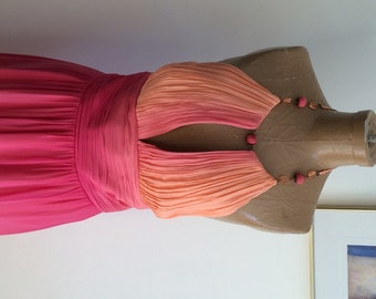 Chiffon Gown / Marilyn Look Top / 90's does 40's Shades of Pale Orange Melting Into Pink / Halter Top Gown / Prom / Greek Goddess
