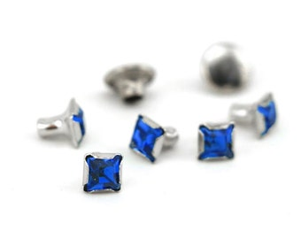Rivet-Crystal Snap Rivets Square-Sapphire  6mm Head Size-You get 5-Impressart-Metal Supply Chick