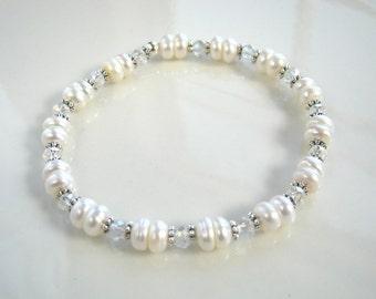White Freshwater Pearl Bracelet White Pearl Stretch Bracelet Pearl Bridesmaid Bracelet