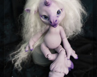 Magic the Unicorn- Limited edition purple resin -BLUSHED (with wig & tail) - ball joint doll / BJD