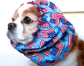 American Flag Dog Snood, Patriotic, Stay Put 3 Row Elastic Threads, Cavalier King Charles or Cocker Snood, Loopy Snood