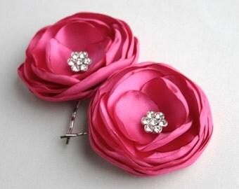 Pink Flower Hair Accessories, Hot Pink Flower Hair Clips, Wedding Hair Piece, Bridesmaid Accessory, Fuschisa Flower Hair Pins, Bridesmaid