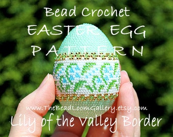 Easter Egg Pattern - Lily of the Valley Border - Crochet PDF File TUTORIAL - Vol.9 with Swarovski Crystals