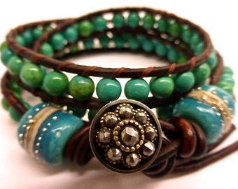 Made to Order OAK Maui Three Wrap Leather Bracelet with Reconstituted Turquoise Beads, Handmade Glass Beads & Antique Steel Cut Button