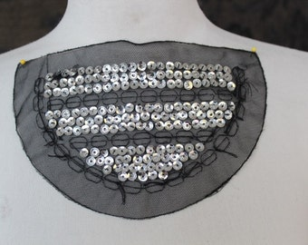 Black color    embroidered  applique with silver color  sequence    1 pieces listing
