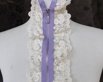 Cute zipper    applique  with  ivory  color ruffled  1 pieces listing 20 1/2 inches long 4 inches wide