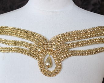 Cute embroidered  and beaded    applique  gold color 1   pieces listing
