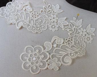 Cute venice  flower applique  ivory  color  2   pieces listing