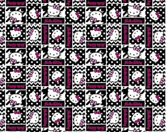 1 Yard HELLO KITTY Cotton Fabric Black And White BTY