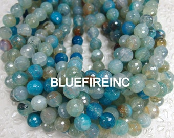 32 pcs 12mm round faceted light blue color agate beads
