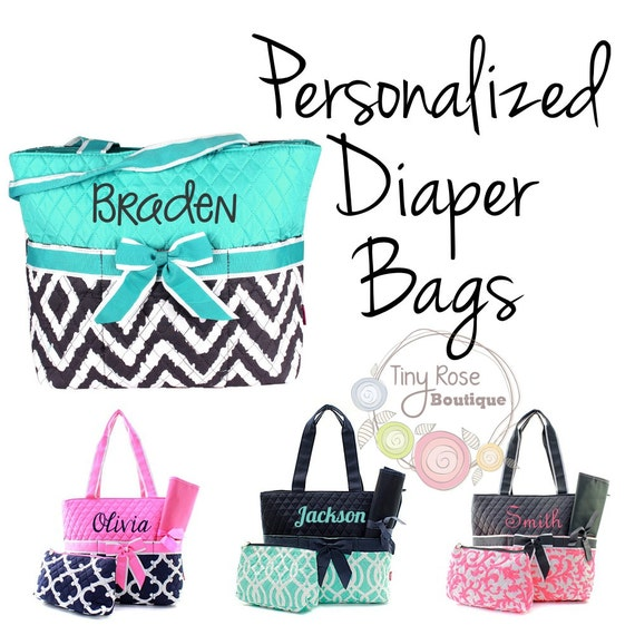 personalized diaper bags monogrammed baby tote changing pad mommy bag. Black Bedroom Furniture Sets. Home Design Ideas