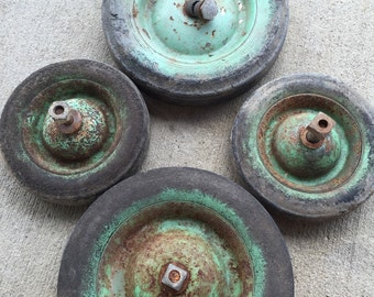 Set of Four Vintage Chippy Painted Rusty Wheels