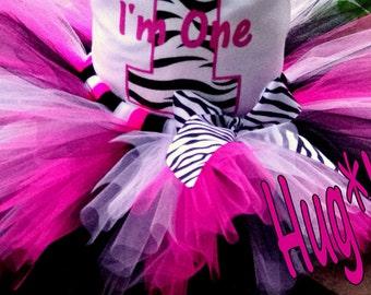 Birthday Diva Zebra tutu in hot pink, black and white  (Tutu only)