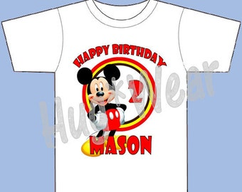 Mickey Mouse first birthday shirt, personalized birthday shirt tee for boys (any age) Top only