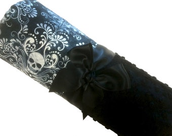 Damask Skull Baby Blanket, Personalized Baby Skull Cotton with Black Dot Minky Back, Lovey Size