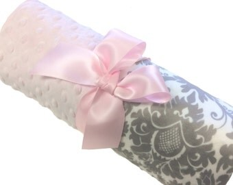 Gray and White Damask Minky Baby Blanket with Pink Dot Minky Personalized Damask Baby Blanket Stroller Size