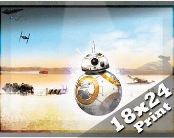 BB-8 starwars episode 7 force awakens disney decor robot art droid jakku movie poster | R2D2 C-3PO star wars sci fi fantasy 18x24 print