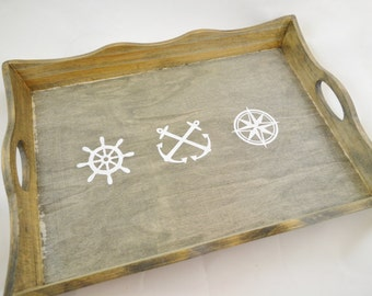 Maritime Nautical Décor Wooden Serving Tray with Handles, Bar Tray, Kitchen Tray