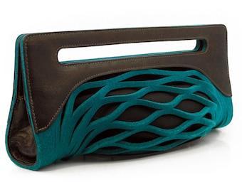 Teal clutch, blue evening bag, felt purse - the Penelope