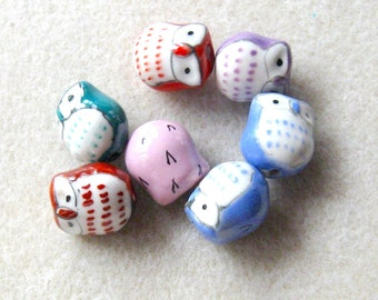 Ceramic Owl Beads, Craft Supplies, Bead Supples, Pastel Owl Beads, Jewelry Design, Beads for Jewelry Making, Loose Beads, Bead Lot, Owl Set