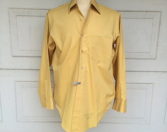 70s Vintage Kent Collection Arrow Dress Shirt Drake #2 Goldenrod Yellow 15 1/2 33 Medium Men