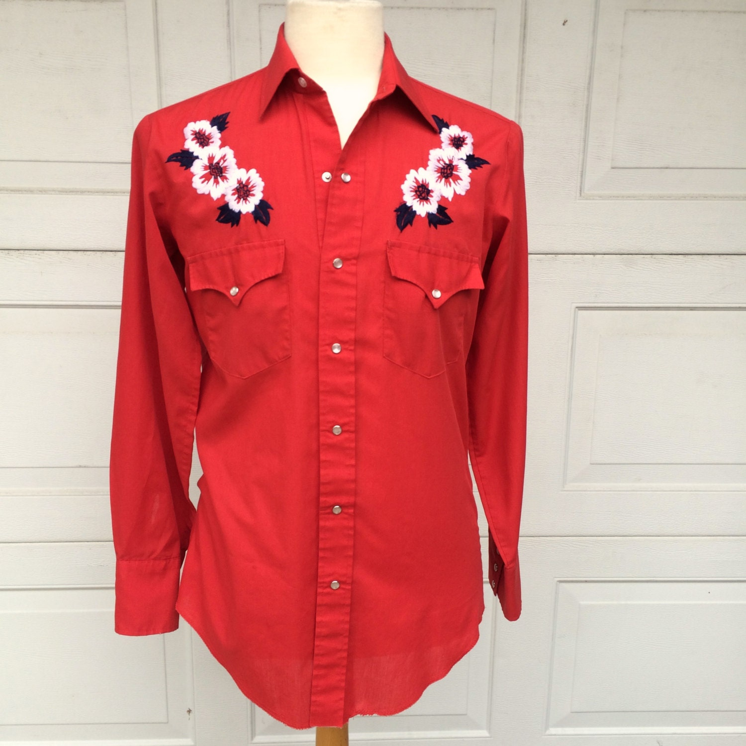 Embroidered Red Western Shirt