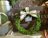 Boxwood Wreath with Striped Ribbon, added galvanized chalkboard tin label.